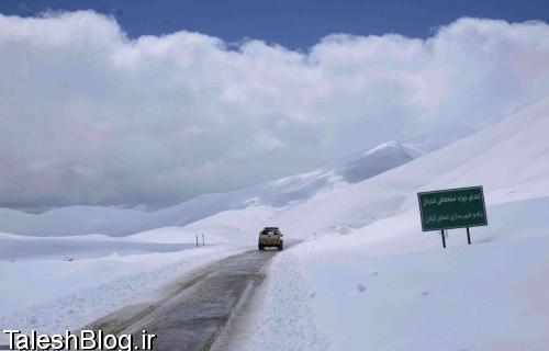 بارش برف بهاری در کوهستانهای رضوانشهر